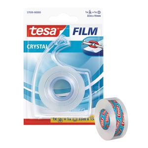 Banda adeziva cu dispenser, TESA, Film Crystal, 33 m x 19 mm