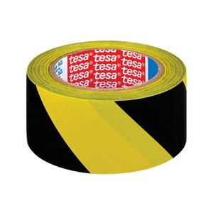 Banda adeziva de marcare TESA, 50 mm x 33 m, negru/galben