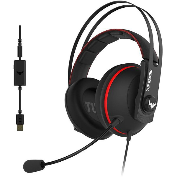 Casti Gaming ASUS TUF Gaming H7, 7.1 surroud, multiplatforma, USB, 3.5mm, negru-rosu