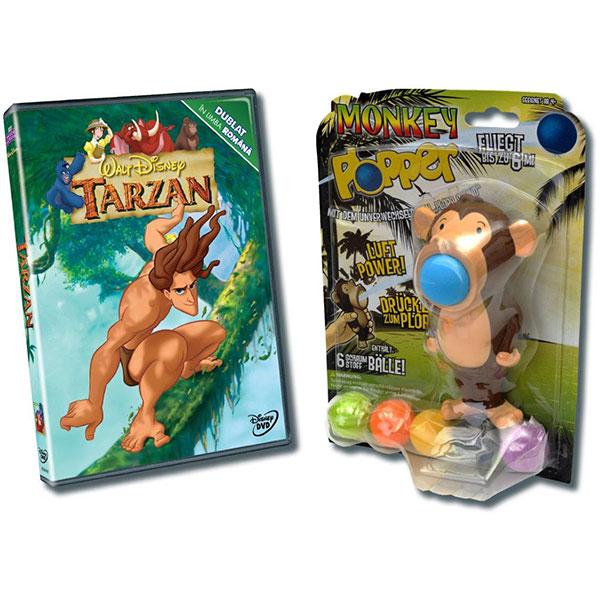 Pachet Tarzan DVD + jucarie Monkey Plopper