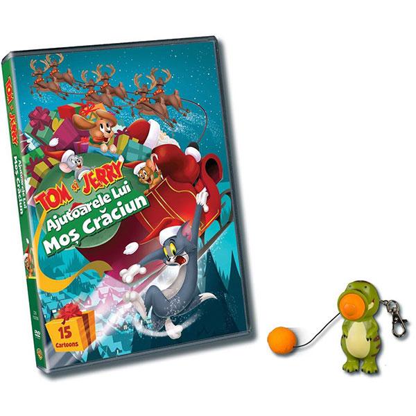 Pachet Tom & Jerry: Ajutoarele lui Mos Craciun DVD + Breloc Plopper Dino