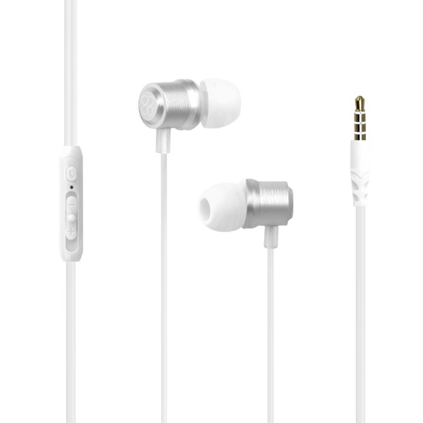 Casti PROMATE Travi, Cu Fir, In-ear, Microfon, alb
