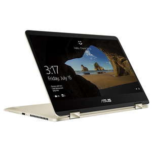 "Laptop 2 in 1 ASUS ZenBook UX461UA-E1013T, 14"" Full HD Touch, Intel Core i5-8250U pana la 3.4GHz, 8GB, SSD 256GB, Intel UHD Graphics 620, Windows 10 Home, Gold"