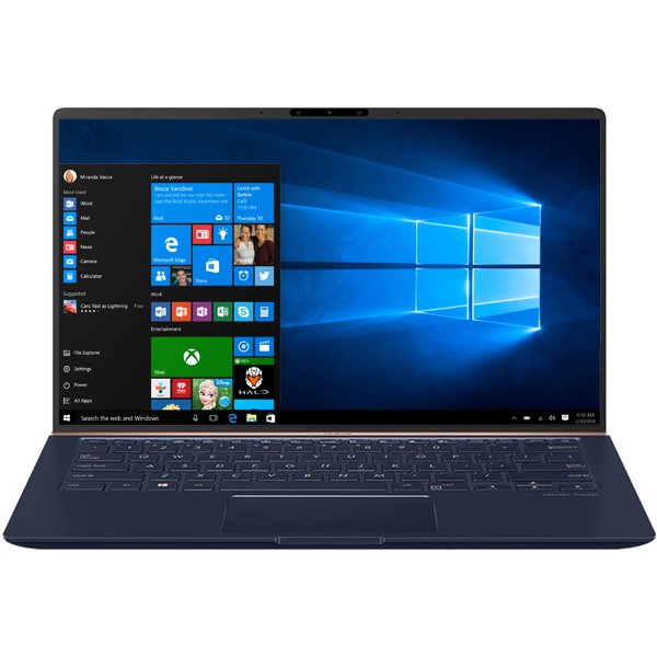 "Laptop ASUS ZenBook 14 UX433FN-A5010R, Intel® Core™ i7-8565U pana la 4.6GHz, 14"" Full HD, 16GB, SSD 1TB, NVIDIA GeForce MX150 2GB, Windows 10 Pro, Royal Blue Metal"