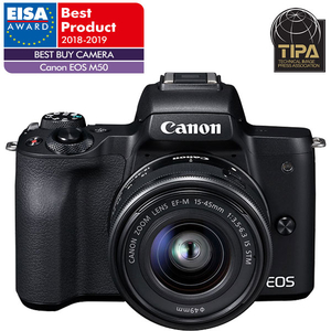 Camera foto digitala mirrorless CANON EOS M50+ Obiectiv M15-45 IS SEE, 24.1Mp, Filmare 4K, negru