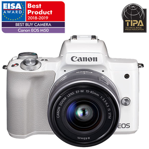 Camera foto digitala mirrorless CANON EOS M50+ Obiectiv M15-45 IS SEE, 24.1Mp, Filmare 4K, alb