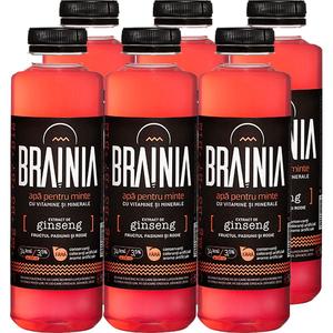 Apa cu vitamine BRAINIA Ginseng-Fructul Pasiunii-Rodie bax 0.5L x 6 sticle