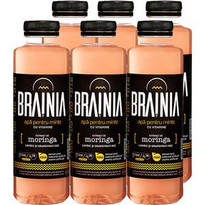Apa cu vitamine BRAINIA Moringa-Grapefruit Roz-Lamaie bax 0.5L x 6 sticle