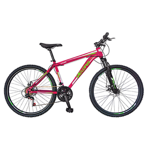 "Bicicleta Mountain Bike VELORS V2409A, 24"",cadru otel, frana disc, roz - verde"