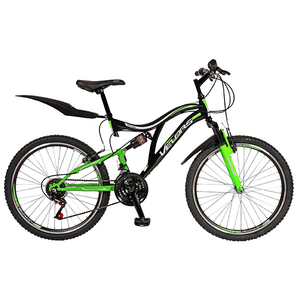 "Bicicleta Mountain Bike-HT VELORS V2459A, 24"", Full Suspension, cadru otel, negru - verde"