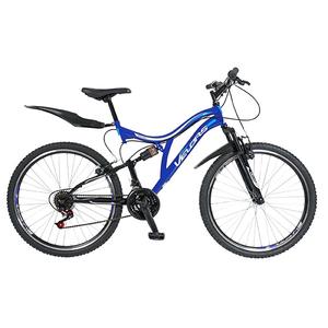 """Bicicleta Mountain Bike-HT VELORS V2659A, 26"""", Full Suspension, cadru otel, negru - albastru"""