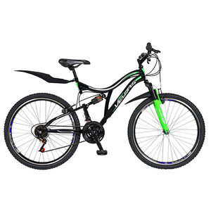 "Bicicleta Mountain Bike-HT VELORS V2659A, 26"", Full Suspension, cadru otel, negru - verde"