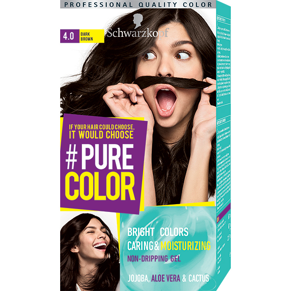Vopsea de par SCHWARZKOPF Pure Color, 4.0 Saten inchis, 142.5ml