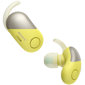 Casti SONY WF-SP700NY, True Wireless Bluetooth, NFC, In-Ear, Microfon, Noise Cancelling, Rezistente la stropire, Google Assistant, galben