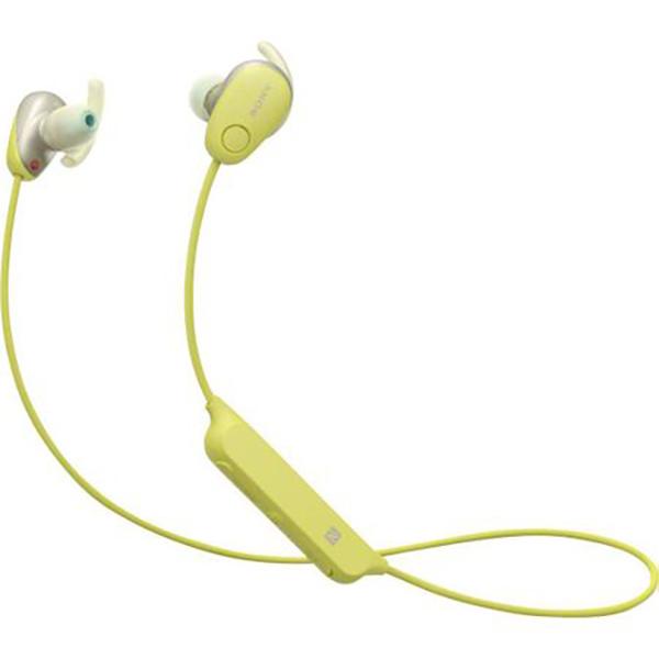 Casti SONY WI-SP600NY, Bluetooth, NFC, In-Ear, Microfon, Noise Cancelling, Rezistente la stropire, galben