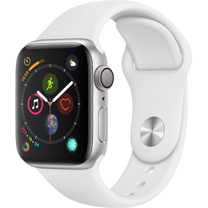APPLE Watch Series 4 40mm Silver Aluminium Case, White Sport Band