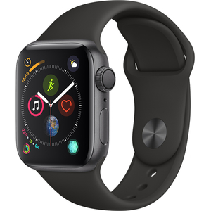 APPLE Watch Series 4 40mm Space Grey Aluminium Case, Black Sport Band