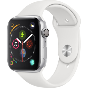 APPLE Watch Series 4 44mm Silver Aluminium Case, White Sport Band
