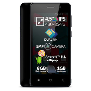 "Telefon Dual Sim ALLVIEW A6 DUO, 4.5"", 5MP, 1GB RAM, 8GB, 3G, Dual Core, Black"