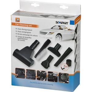Kit SCANPART Car Cleaning 1190000104: 1 Perie mini turbo + 1 Perie tapiterie + 1 Perie universal + 1 Perie praf + 1 Duza locuri inguste