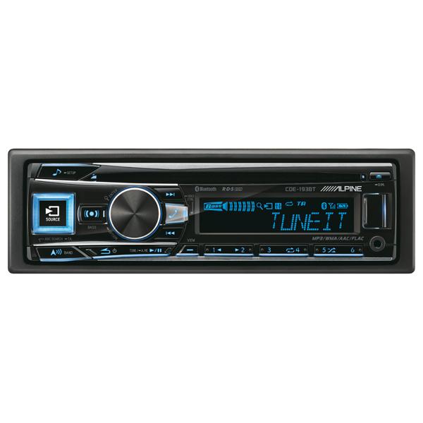 Radio CD auto ALPINE CDE-193BT, 4x50W, USB, Bluetooth, afisaj multicolor