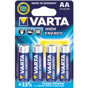 Baterii alcaline AA VARTA High Energy, 4 bucati