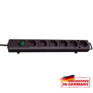 Prelungitor BRENNENSTUHL 141823, 6 prize Schuko, 2m, H05VV-F 3G1.5mm, intrerupator, negru