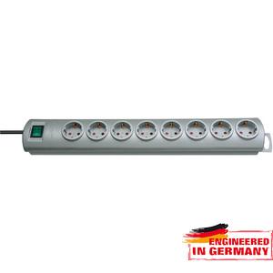 Prelungitor BRENNENSTUHL 141854, 8 prize Schuko, 2m, H05VV-F 3G1.5mm, intrerupator, argintiu