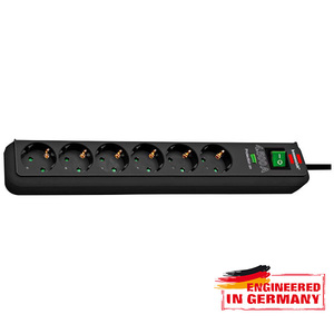 Prelungitor BRENNENSTUHL 141886, 6 prize Schuko, 1.5m, H05VV-F 3G1.5mm, intrerupator, negru