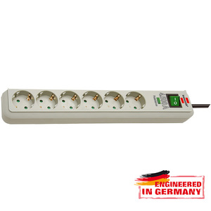Prelungitor BRENNENSTUHL 141887, 6 prize Schuko, 1.5m, H05VV-F 3G1.5mm, intrerupator, gri
