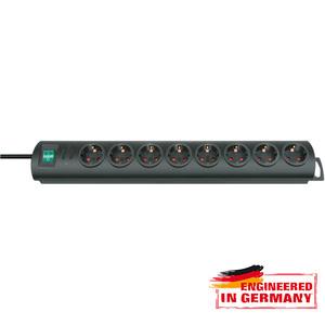 Prelungitor BRENNENSTUHL 163531, 8 prize Schuko, 2m, H05VV-F 3G1.5mm, intrerupator, negru