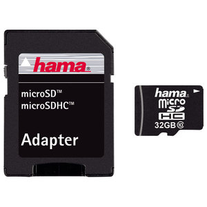 Card de memorie HAMA 108086 microSDHC, 32GB, Clasa 10, 22MBs, adaptor