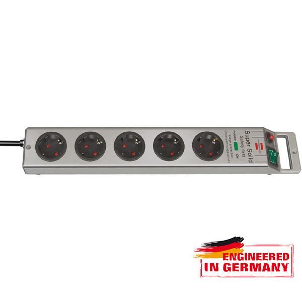Prelungitor BRENNENSTUHL 145562, 5 prize, 2.5m, H05VV-F 3G1.5mm, intrerupator, argintiu