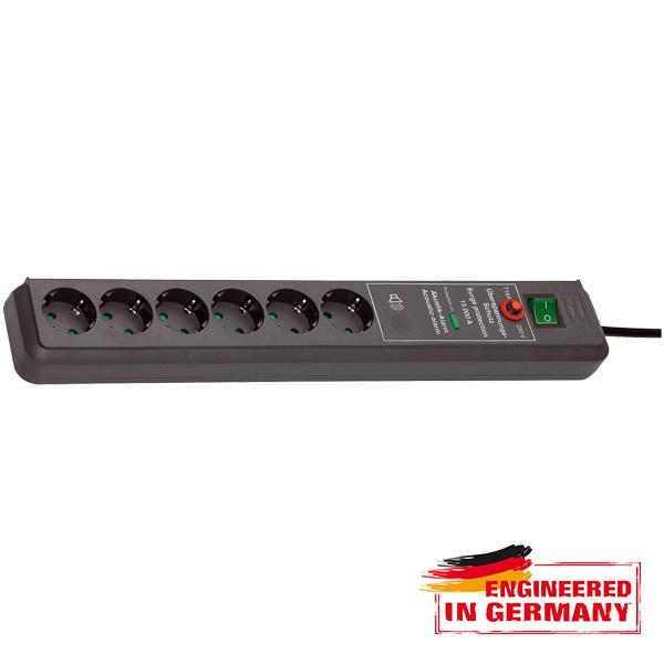 Prelungitor BRENNENSTUHL 149918, 6 prize Schuko,  3m, H05VV-F 3G1.5mm, intrerupator, negru