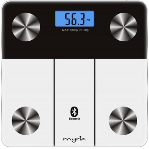 Cantar de persoane MYRIA MY4815, electronic, bluetooth, 180 kg, alb-negru