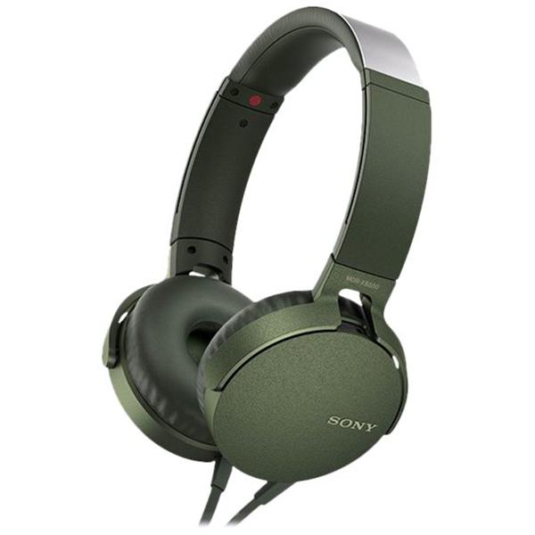 Casti SONY MDR-XB550APG, microfon, on ear, cu fir, verde