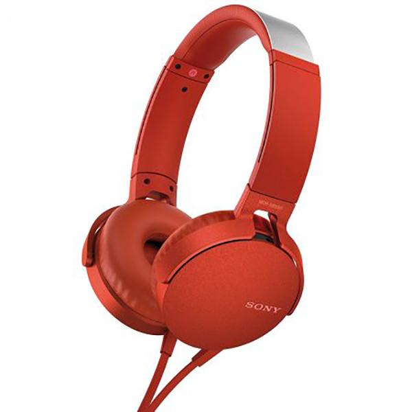 Casti SONY MDR-XB550APR, Cu Fir, On-Ear, Microfon, rosu