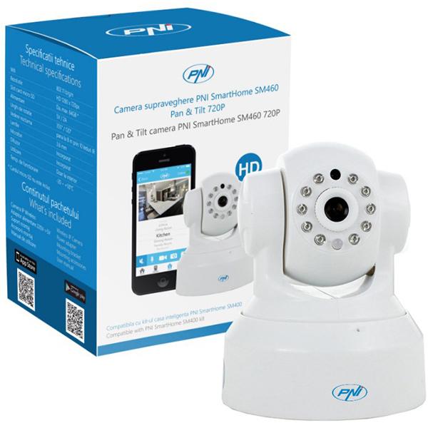 Camera supraveghere cu IP PNI SMARTHOME SM460, 720p, Wi-Fi, alb