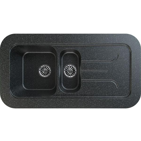 Chiuveta bucatarie GORENJE KVE 100.12, 1 1/2 cuve, picurator reversibil, compozit, negru