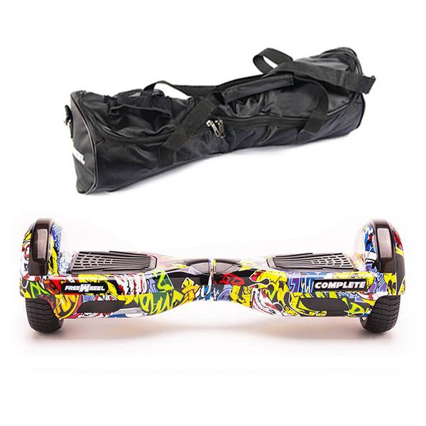 Scooter electric FREEWHEEL Complete, 6.5 inch, viteza 15 km/h, motor 2 x 350W, graffiti galben + geanta transport cadou
