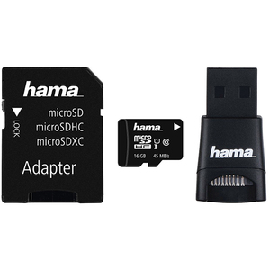 Multi Kit HAMA microSDHC 16GB Clasa 10, 45MBs, adaptor SD + USB reader