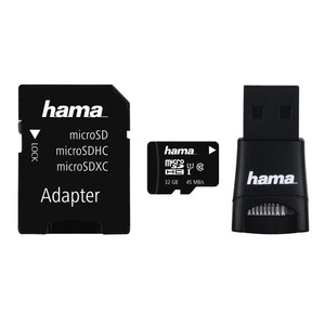Multi Kit HAMA microSDHC 32GB Clasa 10, 45MBs, adaptor SD + USB reader