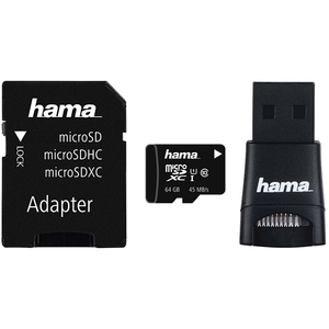 Multi Kit HAMA microSDXC 64GB Clasa 10 UHS-I, 45MBs, adaptor SD + USB reader