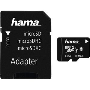 Card de memorie HAMA 124140 microSDXC 64GB, Clasa 10 UHS-I, 80MBs, adaptor