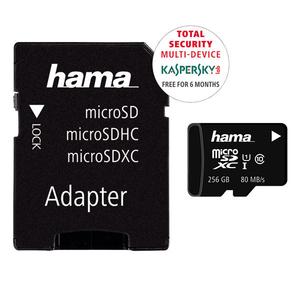 Card de memorie HAMA 124171 microSDXC, 256GB, clasa 10 UHS-I, 80MBs, adaptor SD + 6 luni licenta Kaspersky