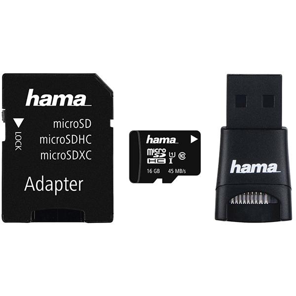Multi Kit HAMA microSDHC 16GB Clasa 10, 45MBs, adaptor SD + USB reader