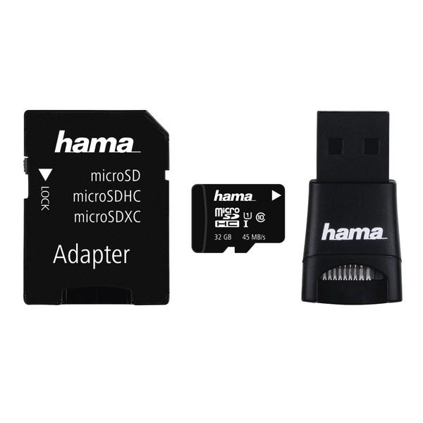Multi Kit HAMA microSDHC 32GB Clasa 10, 45MBs, adaptor SD + USB reader