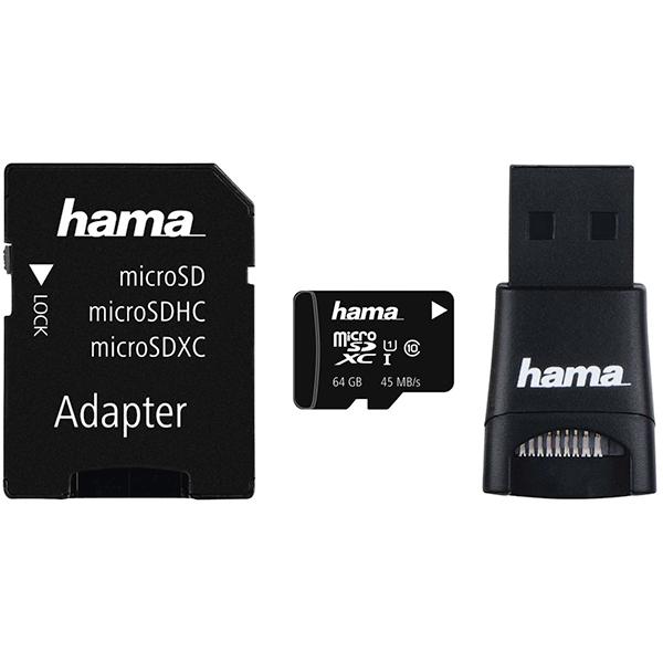 Multi Kit HAMA microSDXC 64GB Clasa 10 UHS-I, 45MBs, adaptor SD + USB reader