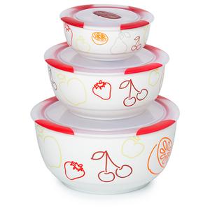 Set boluri ceramice OURSSON BS2981RC/DC, 3 piese, 0.3 - 1.7l, ceramic, visiniu
