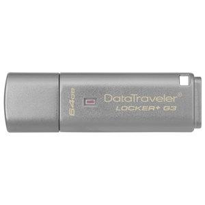 Memorie USB KINGSTON DataTraveler Locker+ G3 DTLPG3/64GB, 64GB, USB 3.0, argintiu